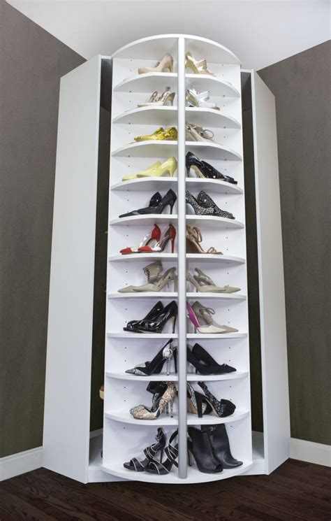interior large corner rotating shoe rack design idea for