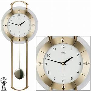 Wanduhr Mit Pendel : ams 5255 wanduhr funk funkwanduhr mit pendel messing ~ Watch28wear.com Haus und Dekorationen