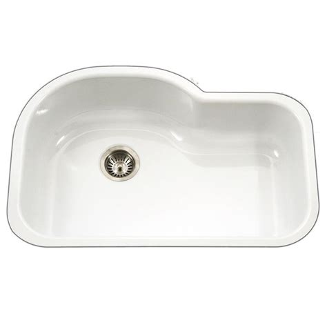 white single bowl kitchen sink houzer porcela series undermount porcelain enamel steel 31 1868