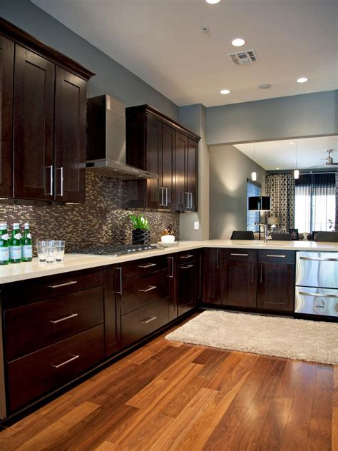 contemporary gray kitchen  rich brown cabinetry hgtv