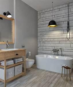 Wandfarbe Für Bad : spezielle farbe f r bad in grau und tapete in holzoptik ~ Michelbontemps.com Haus und Dekorationen