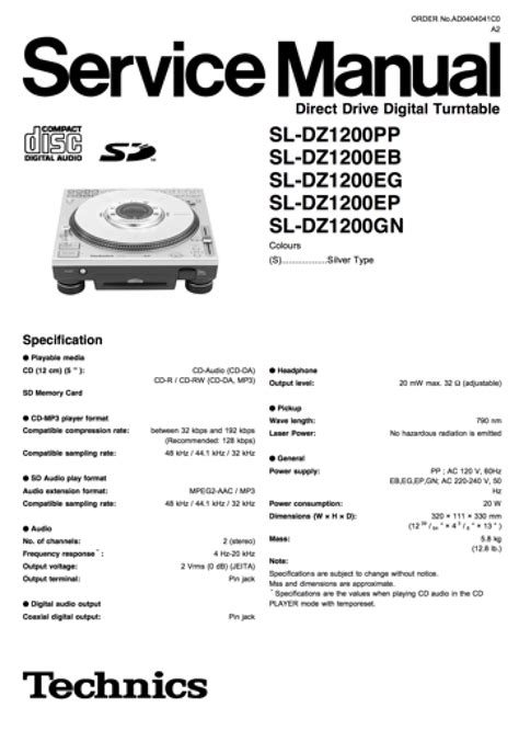 Technic Sl 1600 Wiring Diagram by Technics Sl Dz1200 Service Manual Complete In 2019