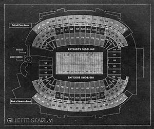 Out Of Print Size Chart Vintage Print Of Gillette Stadium Seating Chart On Photo