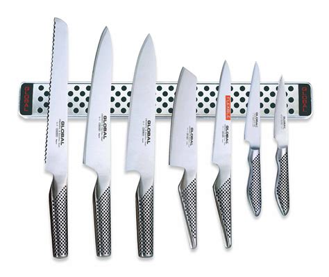 Global Kitchen Knives by Global Knives 7 Knife Set With Magnetic Wall Rack