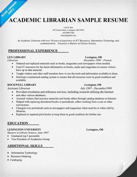 Curriculum Vitae Format For Librarian by Sle Cv Academic Librarian