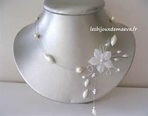 Bijoux mariage collier fantaisie de mariee ivoire fleur for Collier fleur mariage