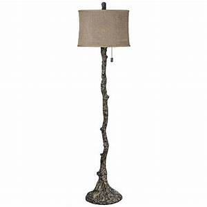 Wesley bark tree branch floor lamp 8m826 lampspluscom for Tree bark floor lamp