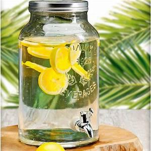 Fontaine à Boisson : fontaine de boisson distributeur de boisson 5 5 litres en verre avec robinet ~ Teatrodelosmanantiales.com Idées de Décoration