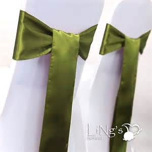 6 quot x 108 quot olive green olivine satin chair cover sash bow