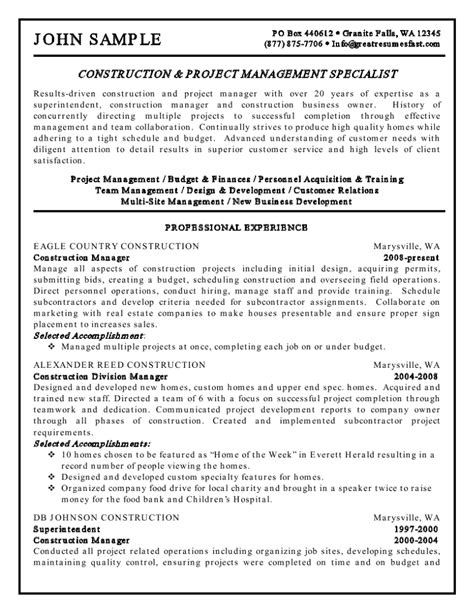 Exle Resume For Project Manager Construction by Sle Construction Project Manager Resume Exle 2017