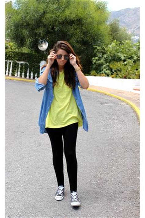yellow hm shirts black stradivarius leggings black