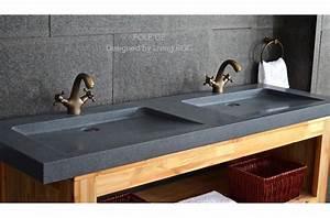 Lavabo En Pierre Naturelle : double vasque en pierre fole 39 ge granit v ritable haut de ~ Premium-room.com Idées de Décoration