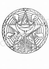 Pagan Coloring Pentacle Altar Water Printable Pages Digital Wiccan Witch Magick Etsy sketch template
