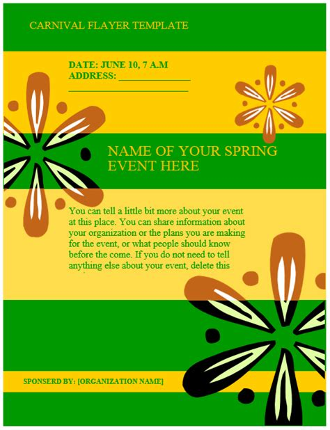 carnival flyer template microsoft word templates