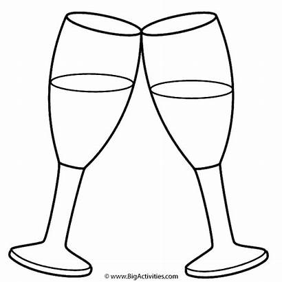 Coloring Glass Pages Glasses Champagne Template Printable