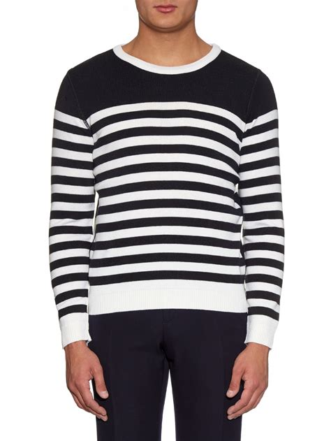 and white striped sweater lyst ami striped wool knit sweater in blue for