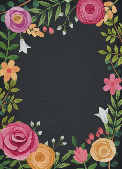 Black Themed Floral Wedding Invitation Template in 2019