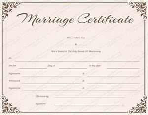 chocolate border marriage certificate template get With wedding certificate templates free printable