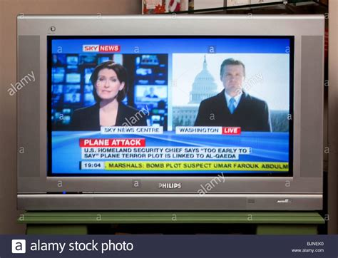 News Tv by Tv Screen Showing Sky News Channel Stock Photo Royalty