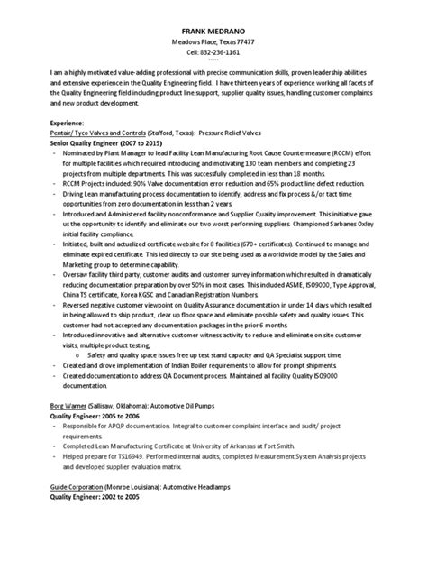resume supplier quality engineer 28 images supplier
