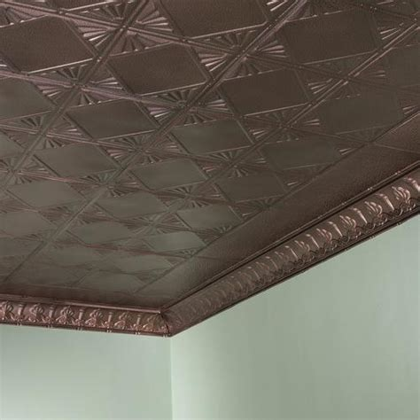 Inset niche with penny tiles, marble base and subway tile wall. Great Lakes Tin Erie - 2' x 2' Tin Nail-Up Ceiling Tile at Menards®