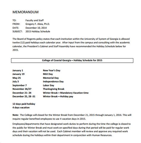 holiday memo template 7 download documents in pdf