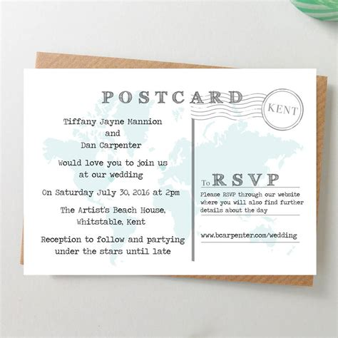 postcard invitation world map wedding invitation postcard by paper and inc notonthehighstreet