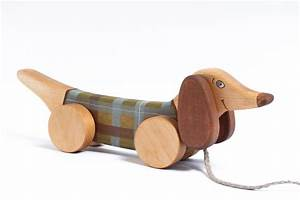 Kids Wooden Toy pull along toy Green Dog by FriendlyToys