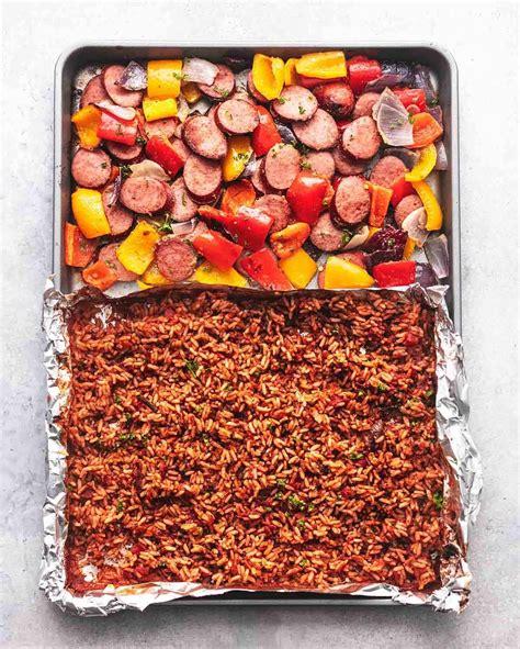 sheet pan sausage spanish rice kielbasa veggies recipes cook peppers turkey recipe lecremedelacrumb bake tomatoes baking onions uses sheets meal