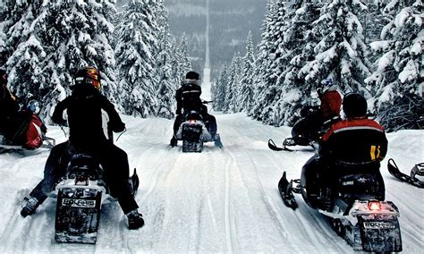 spectacular   snowmobilers riding snowy border