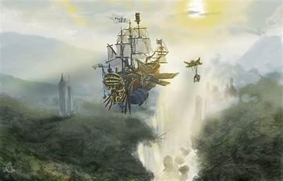 Ship Sky Grand Deviantart Flying Skyship Steampunk