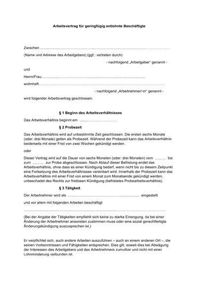 arbeitsvertrag kostenlose muster vorlagen fr