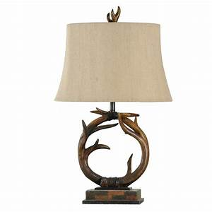 antler decor antler table lamp with custom fabric shade With antler floor lamp with faux leather shade
