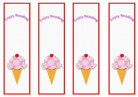 ice cream bookmarks birthday printable