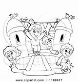 Bouncy Castle Clipart Inflatable Bounce Children Playing Cartoon Outlined Vector Drawing Happy Moon Visekart Royalty Slide Coloring Sheet Getdrawings Illustration sketch template