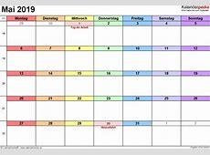 Kalender Mai 2019 als PDFVorlagen