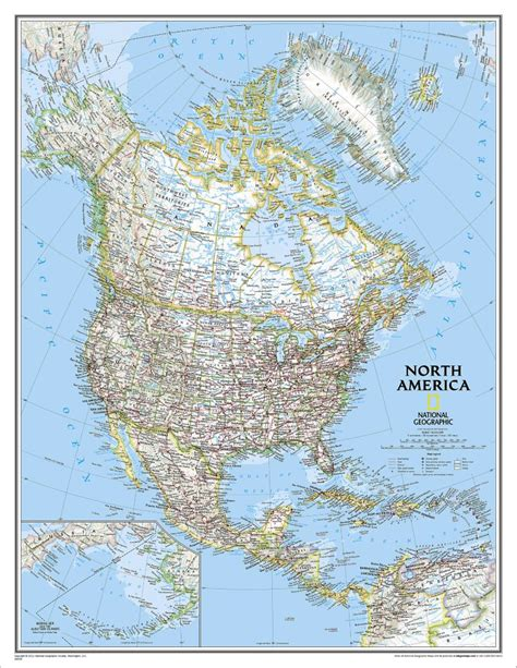 North America Classic Wall Map, Enlarged National