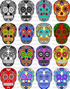 wedding registration items similar to colorful sugar skull digital pictures to