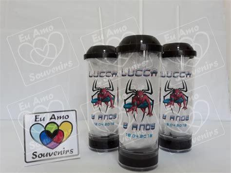 Copo Long Drink Gel 300 ml com Tampa e Canudo Homem Aranha
