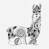 Llama Coloring Mandala Adult Zentangle Sitting Colouring Colour Books Designed Drawing Alpaca Printable Sheets Unicorn Similar Illustrations Unicorns Animal Completely sketch template