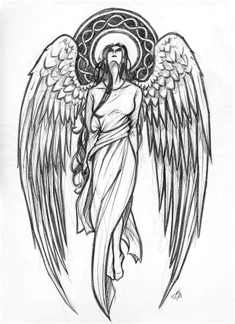 Protector Angels Drawings | Guardian Angel Tattoo Design