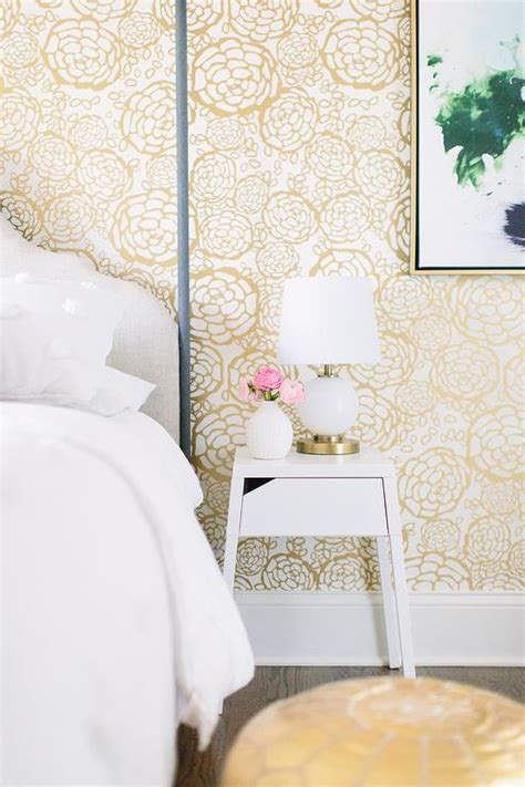 gold and white bedroom white and gold bedroom with hygge and west oh joy petal pusher wallpaper transitional bedroom