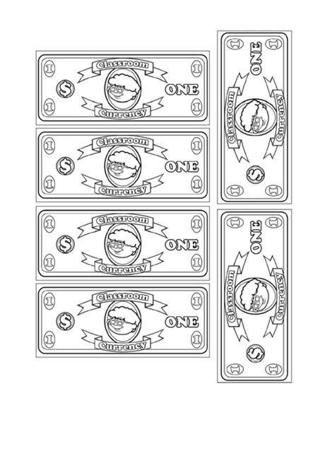 classroom currency  dollar bill template printable