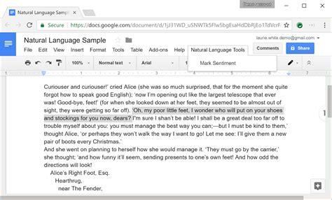 using the natural language api from google docs