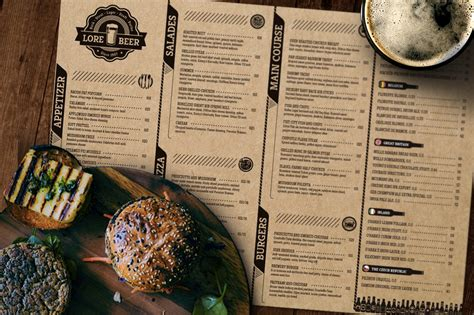 lore beer pub menu layout brochure templates creative