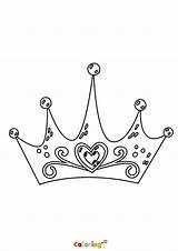 Coloring Crown Princess Printable Cartoon sketch template