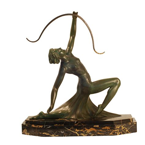 antique art deco ls g daverny antique art deco sculpture of diana the archer