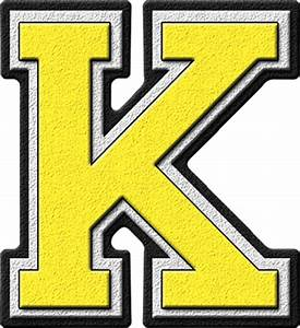 presentation alphabets yellow varsity letter k With big yellow letters