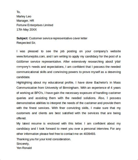 Cover Letter Of Customer Service Representative by Customer Service Cover Letters 8 Free