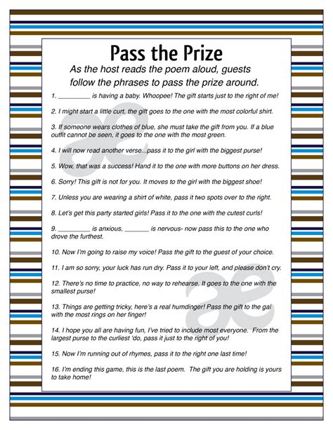 printable baby boy shower activity pass the prize instant
